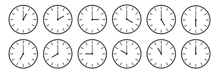 horizontal set of analog clock icon notifying each hour isolated on white,vector illustration. Çizim