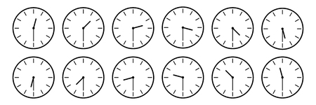 horizontal set of analog clock icon notifying each half an hour time isolated on white,vector illustration. Çizim