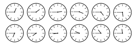 horizontal set of analog clock icon notifying each quarter 45 minutes isolated on white,vector illustration. Çizim