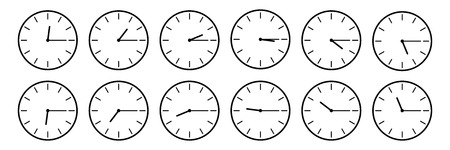 horizontal set of analog clock icon notifying each quarter 15 minutes isolated on white,vector illustration.