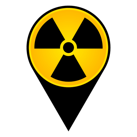 radioactive and nuclear pointer icon isolated on white,vector illustration.