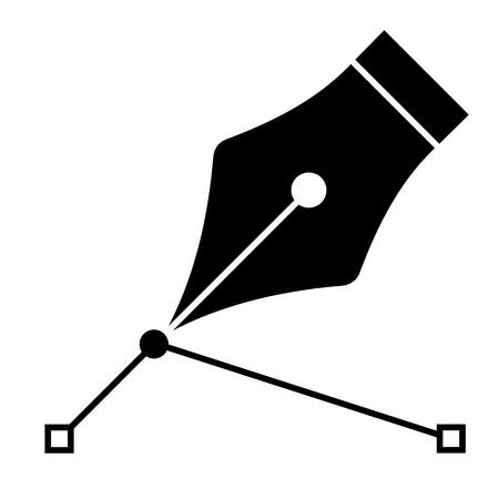 penna stilografica nera con linea isolata su bianco, illustrazione vettoriale. Vettoriali