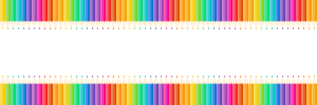 horizontal color pencils isolated on white with space,vector illustration.