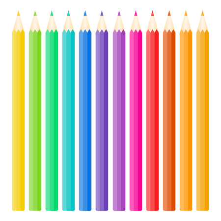twelve color pencils isolated on white,vector illustration.