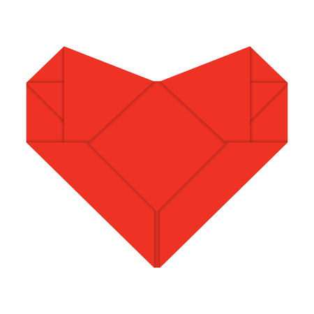 one origami red heart isolated on white. Çizim