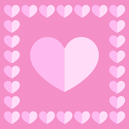 one pink and white heart with frame on pink for pattern and design.