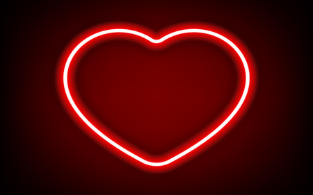 red heart neon tube frame with shadow for pattern and design. Çizim