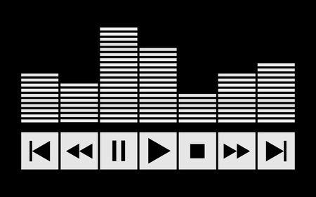 sound wave with control buttons icon for design.
