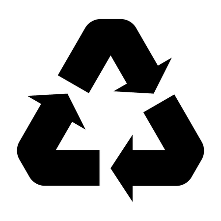 black recycle symbol isolated on white for pattern and design.