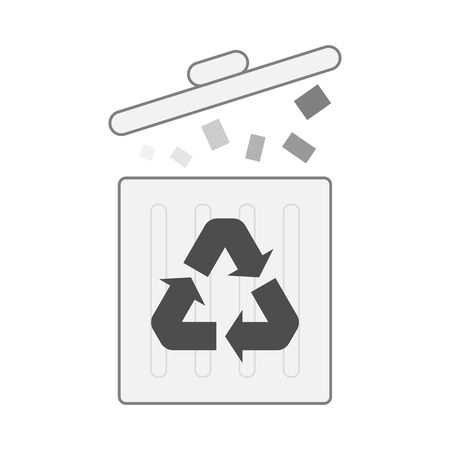 one recycle bin isolated on white for pattern and design.
