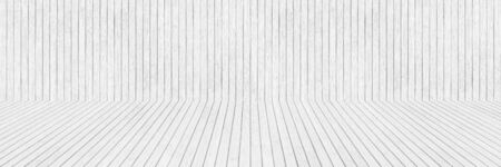 horizontal white wooden wall and floor for pattern and design.