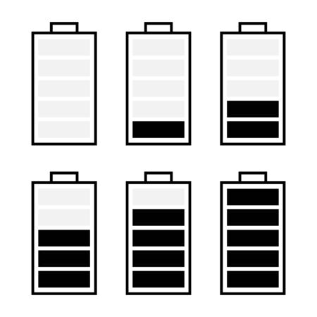 black and white set of battery icon isolated on white.