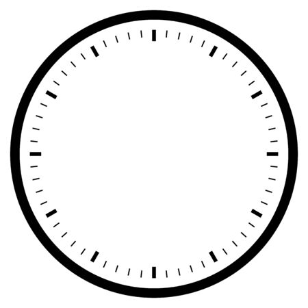 black empty clock isolated on white for pattern and design.