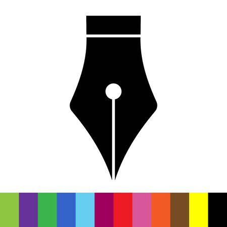 black fountain pen icon with color palette. Stockfoto - 132832739