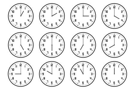 set of analog clock icon with number notifying each hour isolated on white. Ilustracje wektorowe