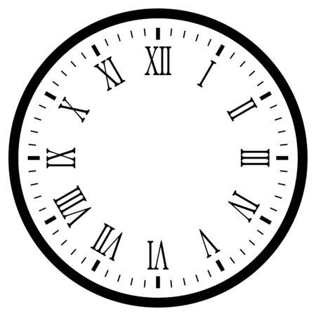 schwarze leere Uhr mit römischen Ziffern isoliert auf weiß für Web und Design.