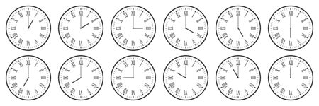 horizontal set of analog clock icon with roman numeral notifying each hour isolated on white,vector illustration.