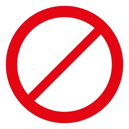 empty red forbidden sign isolated on white. Ilustração