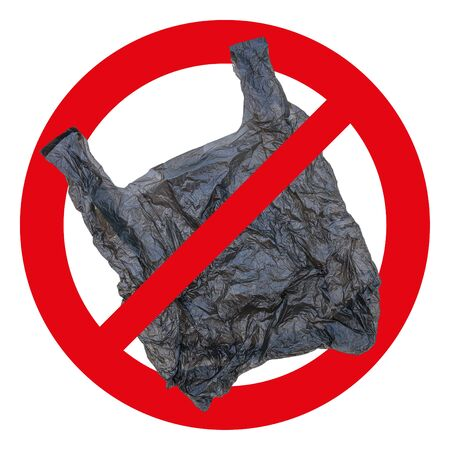 No plastic bag sign and icon isolated on white.