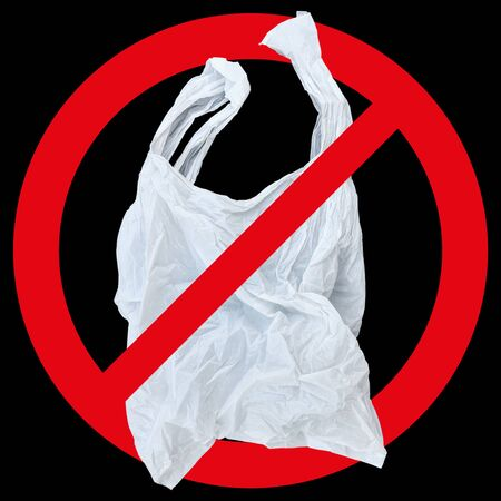 one white plastic bag with red forbidden sign isolated on black.