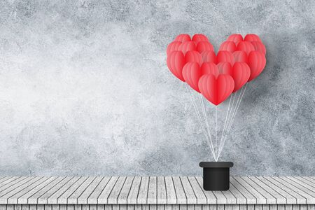 group of red heart shaped balloons float on cement wall with wooden floor. Imagens