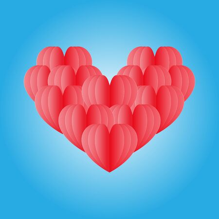 group of red heart isolated on blue.