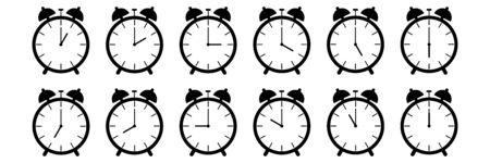 horizontal set of analog alarm clock icon notifying each hour isolated on white,vector illustration. Ilustração