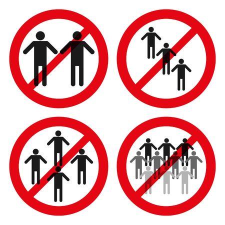 set of red forbidden sign on people group. Ilustração