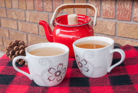 2 november: Two teacups on a cozy winter throw with red teapot and pinecone. Stock Photo