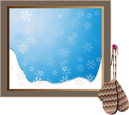 window view: Snowy window with hanging mittens. Background ready for text.