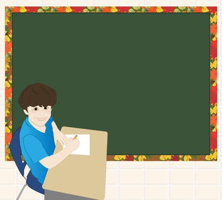 schooldesk: Child sitting at schooldesk holding pencil. Large chalkboard in background ready for text. Illustration
