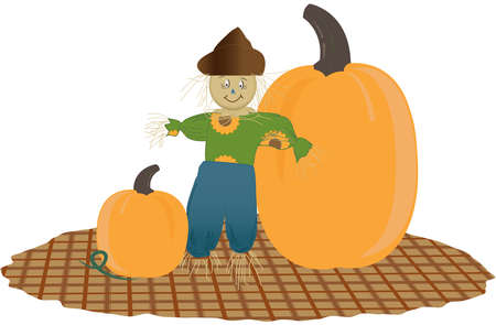 pumpkin patch: Scarecrow with two giant pumpkins on a plaid patch. Transparent background