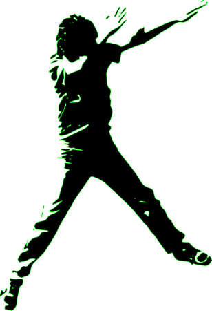 striking: Silhouette of energetic and cool youth striking a pose