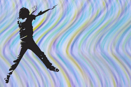 striking: Silhouette of youth striking a pose in front of wild multicolored background Stock Photo