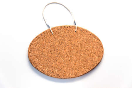corkboard: Oval frameless corkboard hanging sign ready for text