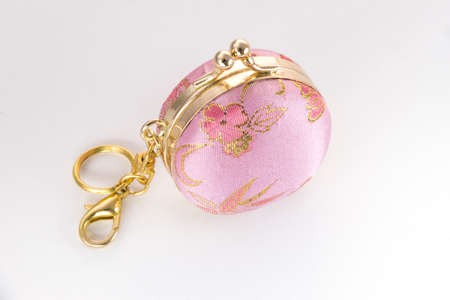 change purse: Small pink and gold embroidered change purse with clip