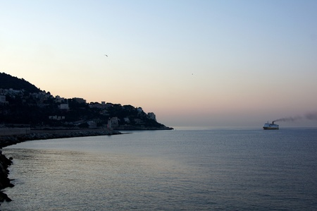 cruiseship entering the marina of Nice photo
