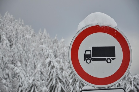 Stop traffic sign in the snowy forest photo