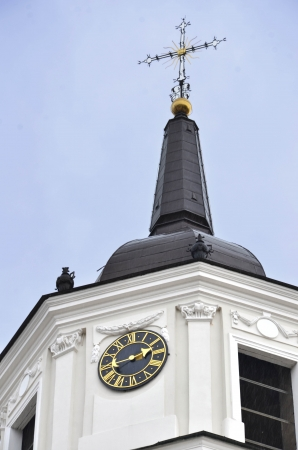 Church tower in close view photo