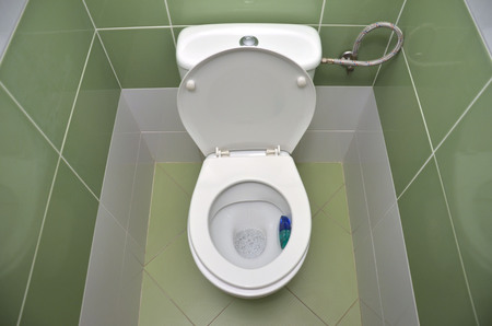 water closet: Open water closet with green tiles in background