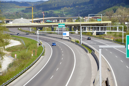 d1: Dolny Hricov, Slovakia - April 30, 2016: Traffic on slovak D1 highway. Next part of this route is under construction in background. Editorial