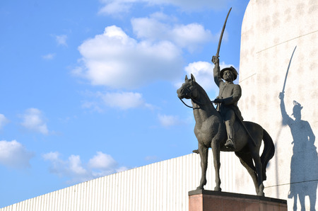 Statue of slovak national hero displayed like a fighter for his nation with sword on the horse Stock Photo