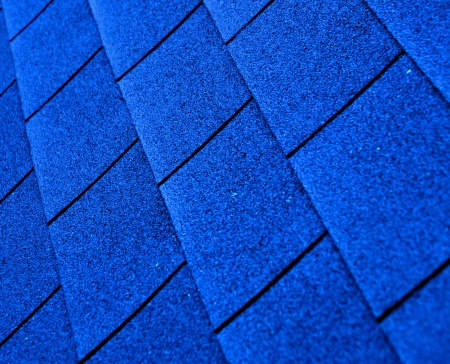 roof shingles: blue shingle roofing Stock Photo