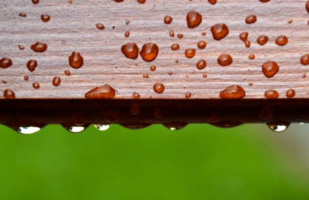 drops of water on wood Stock Photo