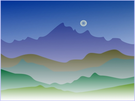 illustration silhouette night landscape illustration