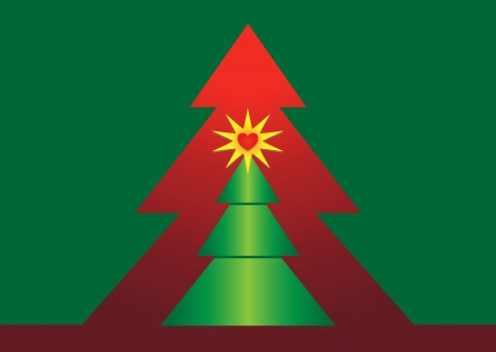 Christmas tree with red star on green background photo