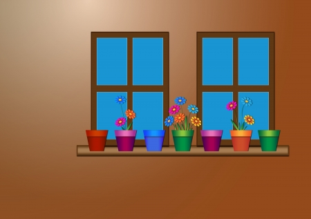 flowerpots: wall of windows with flowerpots and flowers on the windowsill
