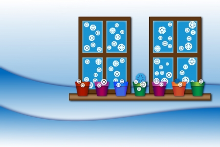 Season Winter background with snowflakes windows and flower pots on the windowsill Stock Photo