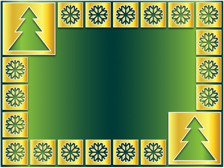 Christmas icons golden flakes and trees on a green background photo