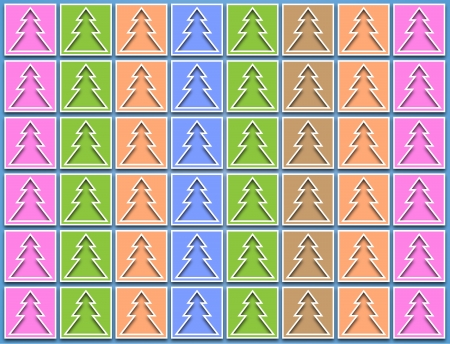 Christmas trees pastel icons arranged vertically on a blue background photo